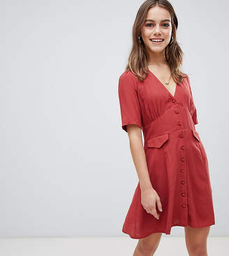 Asos DESIGN Petite button through mini skater dress with pockets
