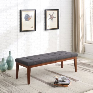"""Ore International 16.5"""" in Gray Tufted Mid-Century Bench with Mapel Wooden Legs"""