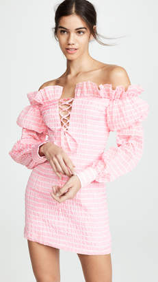 ANAÏS JOURDEN Striped Lolita Off Shoulder Dress