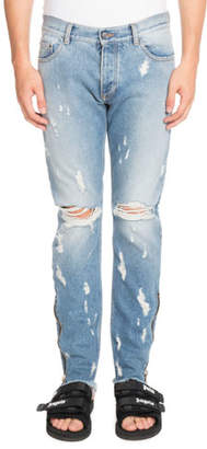 Palm Angels Light-Wash Distressed Jeans