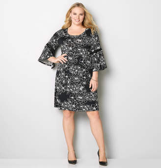 Avenue Floral Lace Bell Sleeve A-Line Dress