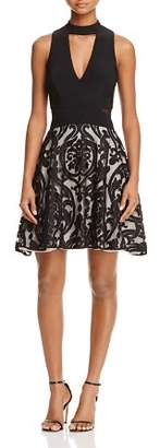 Avery G Flocked Party Dress
