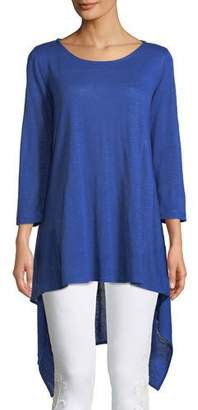 Caroline Rose Long-Sleeve High-Low Linen Tunic