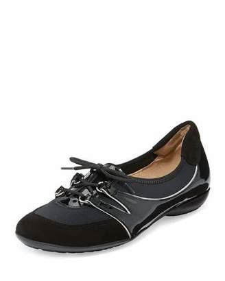 Sesto Meucci Bonnie Stretch Patent Sneaker, Black $245 thestylecure.com