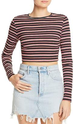 Honey Punch Tie-Back Striped Cropped Sweater