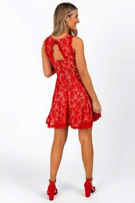 francesca's Lanette Lace Dress - Red