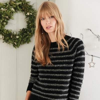 Wool-Rich Sequin Stripe Jumper