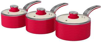 Swan Retro Set Of 3 Saucepans - Red