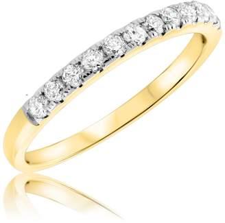 My Trio Rings 3/8 Carat T.W. Diamond Ladies Wedding Band 10K Yellow Gold- Size 8.75