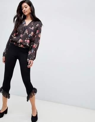 Asos Design Leggings with Lace Ruffle Hem
