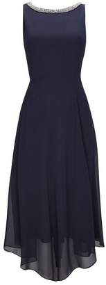 Wallis Navy Embellished Neck Asymmetric Fit and Flare Dress