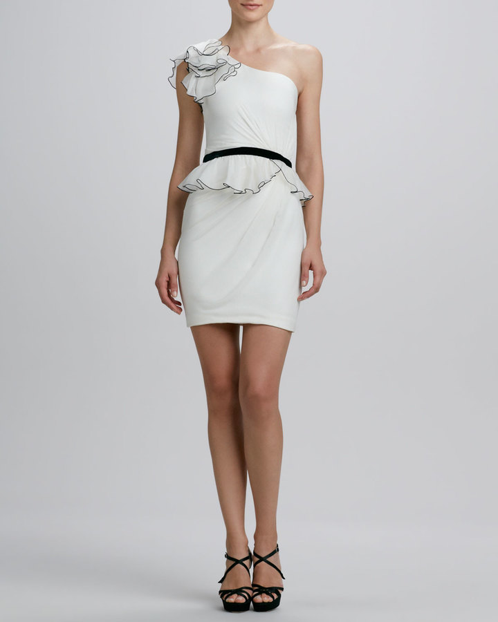 Notte by Marchesa One-Shoulder Ruffled Cocktail Dress