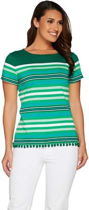 C. Wonder Engineered Stripe Short Sleeve Top with Pom Pom Trim