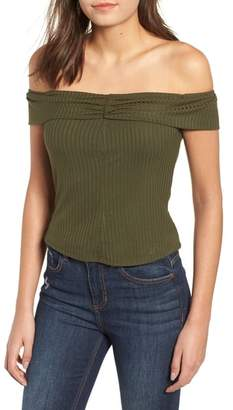 Mimichica Mimi Chica Rib Knit Off the Shoulder Top