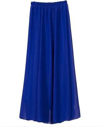 IBTOM CASTLE Women Full/Ankle Length Elastic Pleated Retro Maxi Chiffon Long Ethereal Skater Flare Skirt Beach Vintage High Waist Dress S