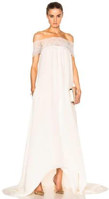 Self-Portrait Lace Detail Off Shoulder Wedding Dress