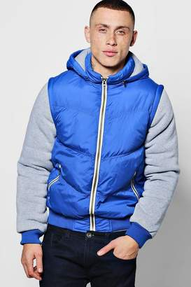 boohoo Padded Jacket With Hood And Jersey Sleeves