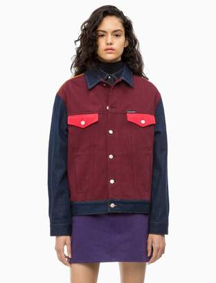 Calvin Klein colorblock denim trucker jacket