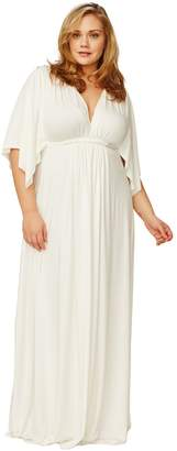 Long Caftan Dress - White, Plus Size
