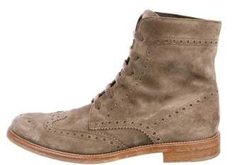 Tod's Suede Brogue Ankle Boots