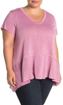 Bobeau Peplum Hem Seamed T-Shirt (Plus Size)