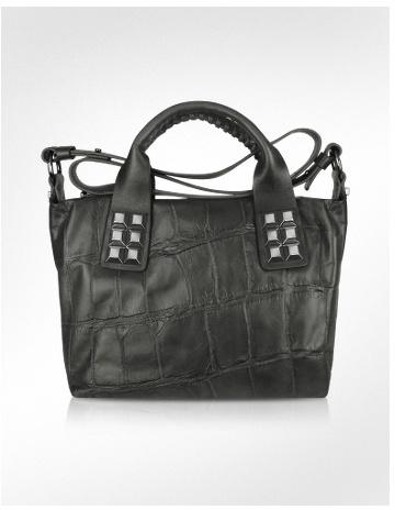 Luana Nisha - Black Croco Stamped Leather Studded Bag