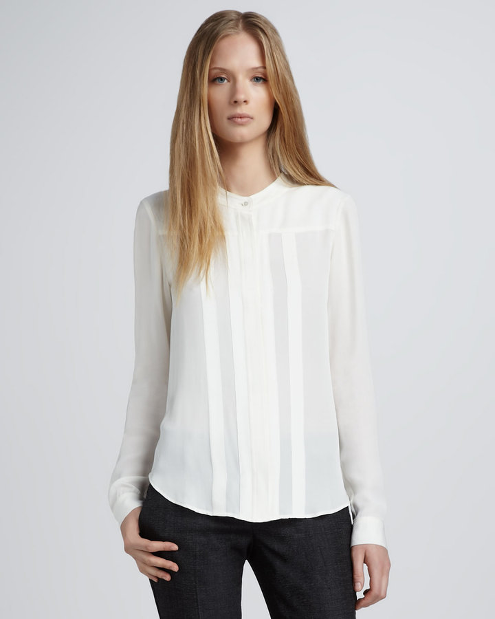 Theory Silk Blouse, White Sold Out thestylecure.com