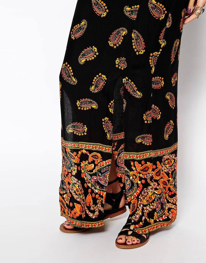 Band of Gypsies Split Maxi Skirt in Boarder Print