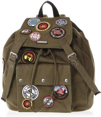 Saint Laurent Noe Green Gabardine Patch-work Backpack