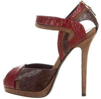 Fendi Embossed Leather & Suede Sandals