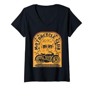 Womens Motorbike Shirt Motorcycle Vintage Biker V-Neck T-Shirt