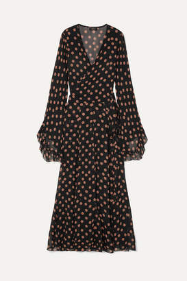 De La Vali Oswalda Ruffled Polka-dot Chiffon Wrap Maxi Dress - Black