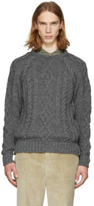 Thom Browne Grey Aran Cable Knit Raglan Sweater