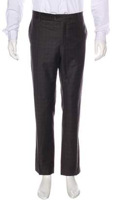 Brunello Cucinelli Plaid Wool Dress Pants