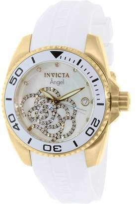 Invicta Women's 0488 Angel Gold-Tone White Polyurethane Band Watch