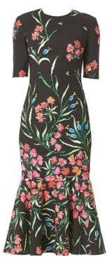 Carolina Herrera Floral Cotton& Silk Cocktail Midi Dress