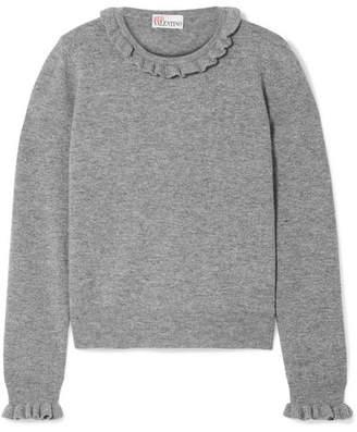 RED Valentino Metallic Ruffle-trimmed Wool-blend Sweater