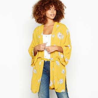 Minimum Gold Floral Print Belted Kimono Top