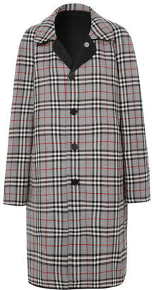 Burberry Reversible Gabardine And Checked Wool Coat - Gray