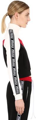 Miu Miu Zip-Up Cotton Track Jacket W/ Logo Bands