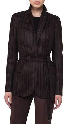Akris Lei Striped Cashmere Belted Jacket