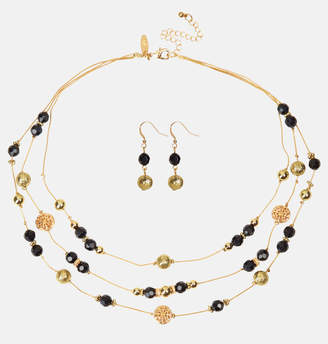 Avenue Black Gold Bead Necklace and Earring Set
