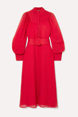 Rotate by Birger Christensen Belted Fil Coupé Chiffon Midi Dress - Red