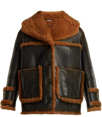 Miu Miu Oversized Shearling Coat - Womens - Black