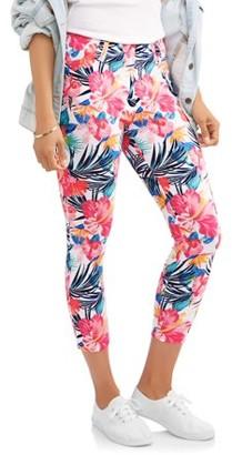 c91ea79ae40158 Time and Tru Women's Printed Jegging Capri Pants