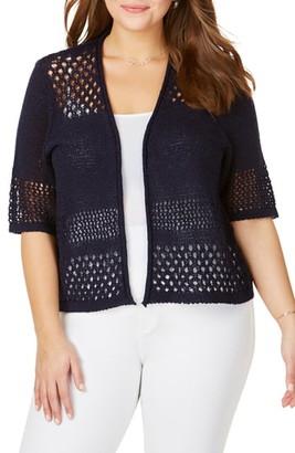 Foxcroft Hana Eyelet Stitch Short Sleeve Cotton Blend Sweater
