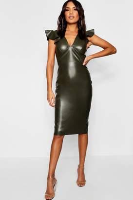boohoo PU Frill Sleeve Midi Dress