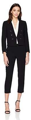Tahari by Arthur S. Levine Women's Petite PetiteCrepe Miltary Style Long Sleeve Jacket Pant Suit