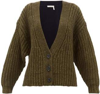 See by Chloe Bi Colour Alpaca Blend Cardigan - Womens - Khaki Multi