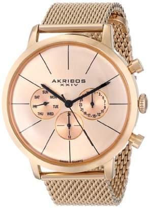 Akribos XXIV Men's AK714RG Ultimate Rose Gold-Tone Mesh Bracelet Watch